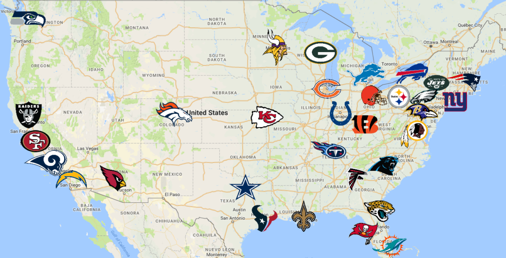 NFL Map | Teams | Logos - Sport League Maps : Maps of ...