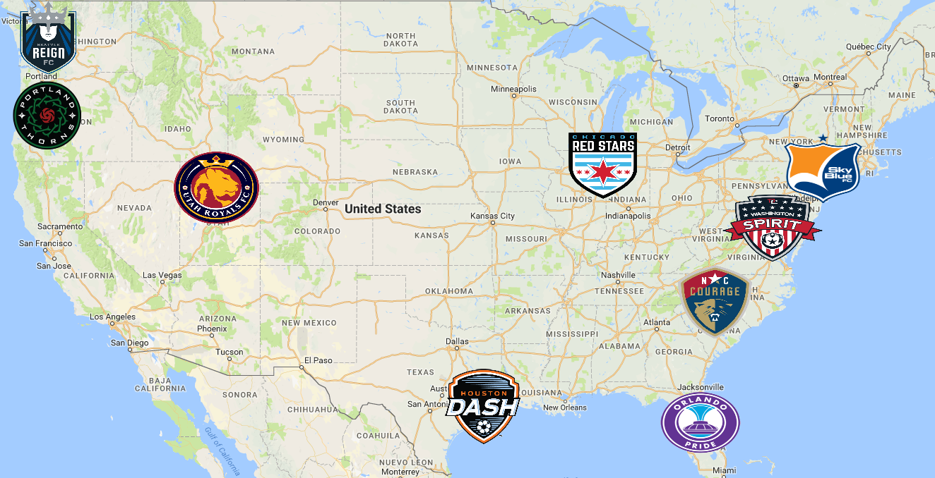 NWSL Map | Teams - Sport League Maps : Maps of Sports Leagues