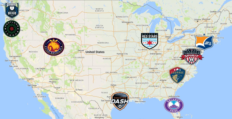 NWSL Map | Teams - Sport League Maps : Maps of Sports Leagues