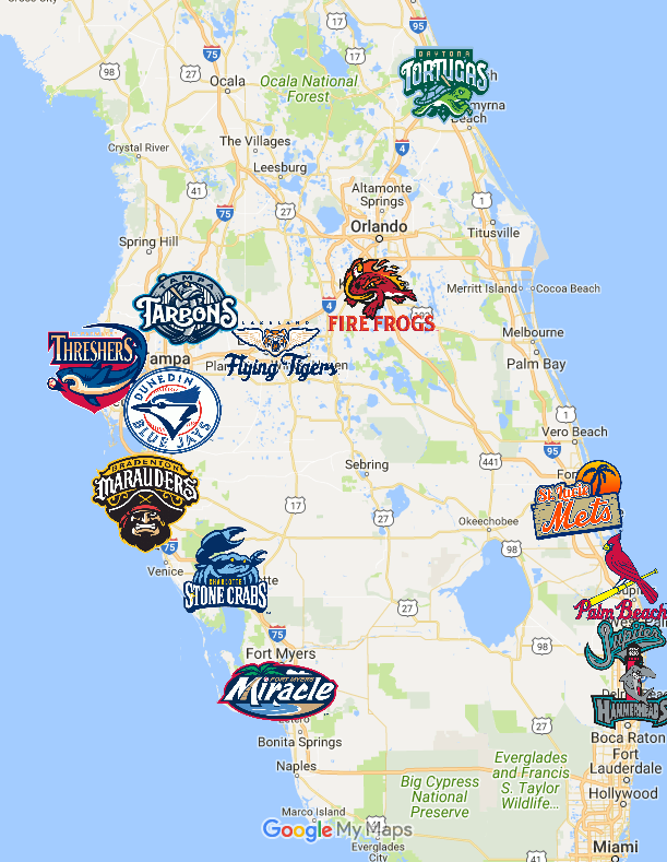 Complete Map Of Florida.Florida State League Map Teams Logos Sport League Maps