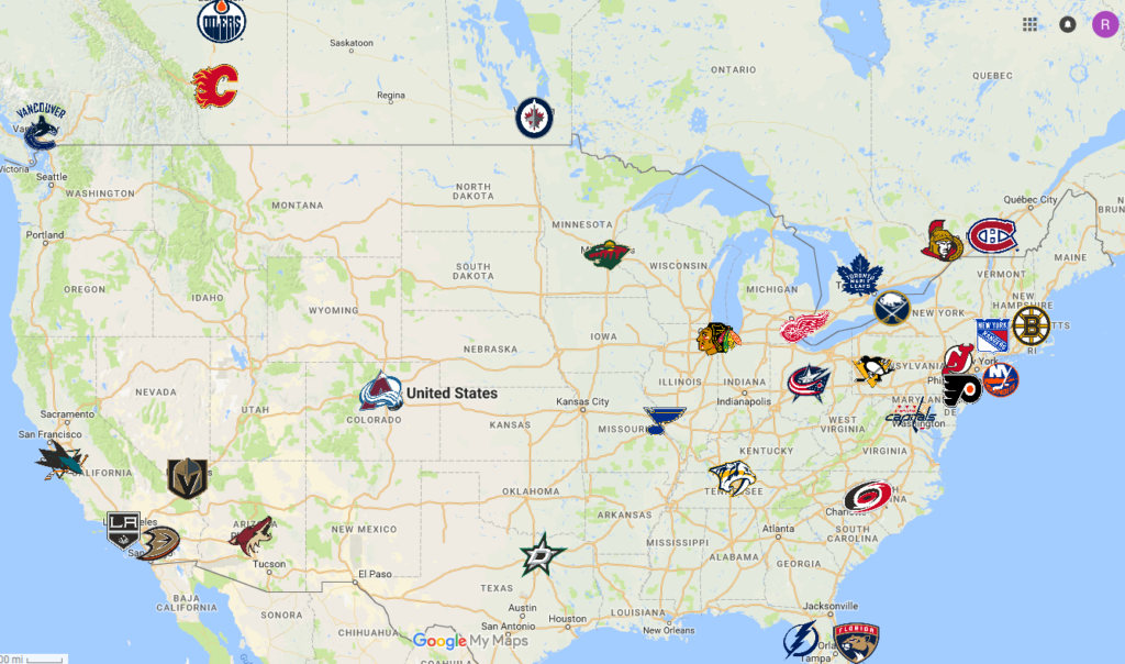 Nhl Map Teams Logos Sport League Maps Maps Of