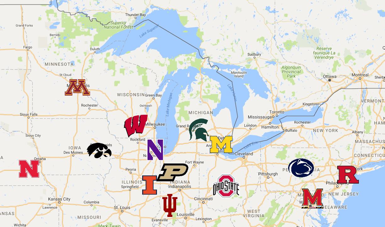 Big Ten | Teams | Logos - Sport League Maps : Maps of ...