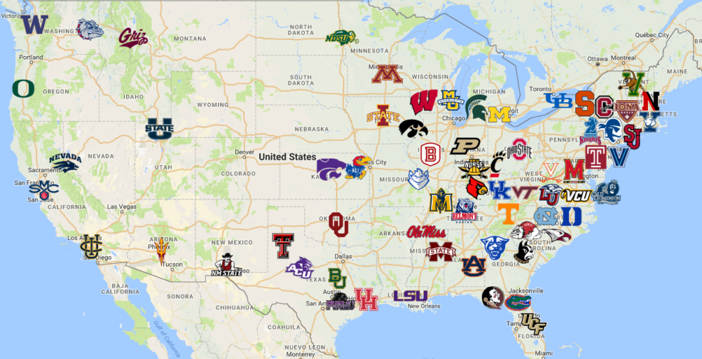 2019 NCAA Tournament Map | Teams | Logos - Sport League Maps