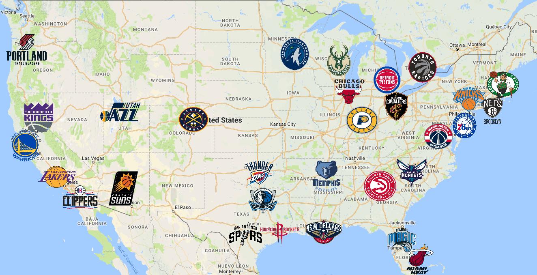 NBA Map | Teams | Logos - Sport League Maps : Maps of Sports Leagues